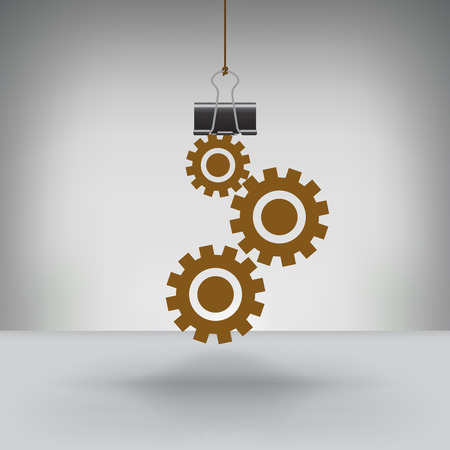 A Set of Gears Hung by a Binder Clip Vector