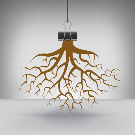 hung: Some Roots Hung by a Binder Clip