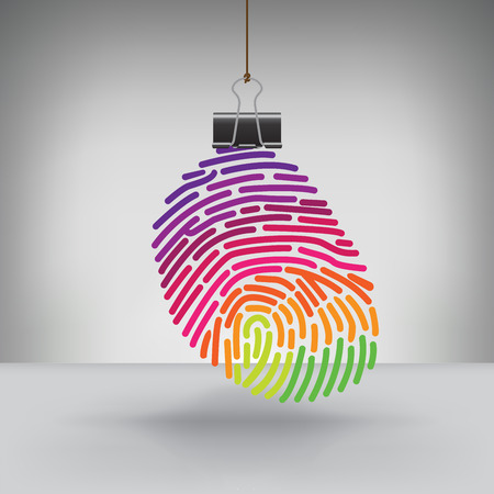 hung: A Colorful Fingerprint Hung by a Binder Clip Illustration