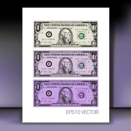dollar bill: Abstract One Dollar Bill Motif Illustration