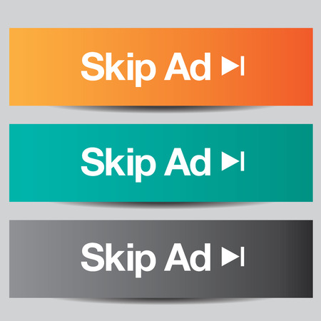 e commerce icon: Colorful set of skip ad buttons
