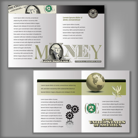 one dollar bill: One Dollar Bill Brochure Layout Template