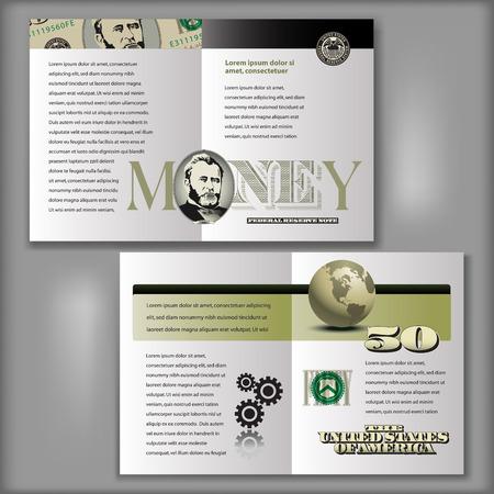 stylized banking: 50 Dollar Bill Brochure Layout Template