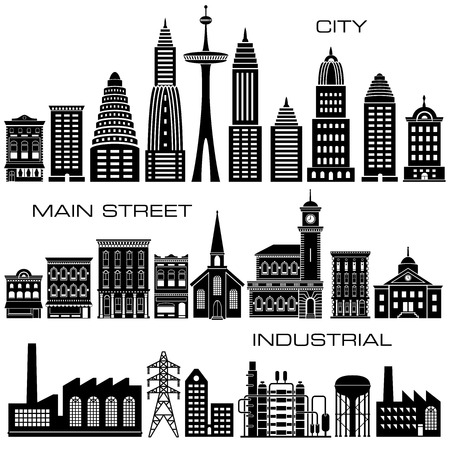 main street: 24 City, Main Street and Industrial Buildings icon set