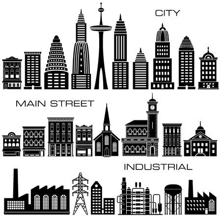 24 Ciudad, calle principal y Naves Industriales conjunto de iconos Foto de archivo - 40283507