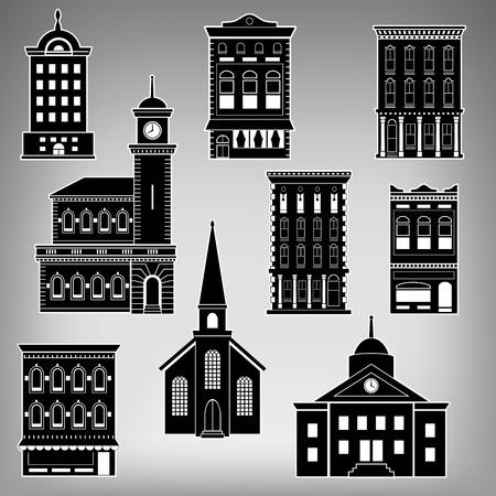 escaparates de tiendas: Edificios Small Town Main Street