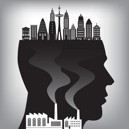residuos toxicos: Una ilustración de la contaminación en la ciudad