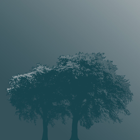 Two Trees in Fog on a Plain Background Illustration