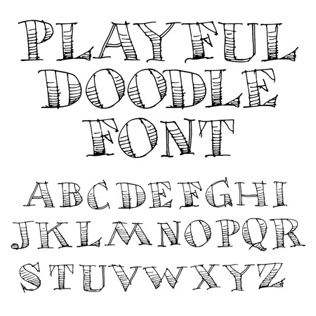 for print: Hand Drawn Sketch Alphabet  for Print or Web