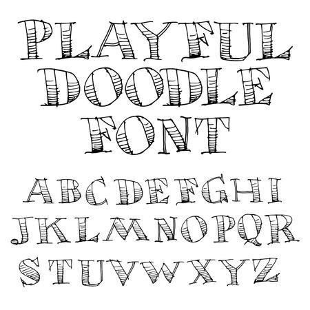 Hand Drawn Sketch Alphabet  for Print or Web