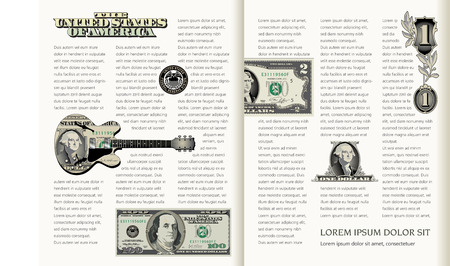 two page: Two Page Spread Money Themed Layout Template