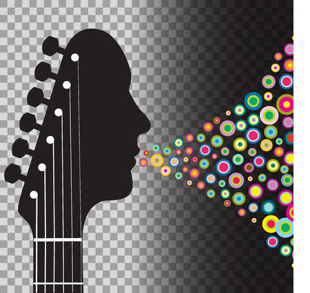 Guitar headstock man with circles Illustration