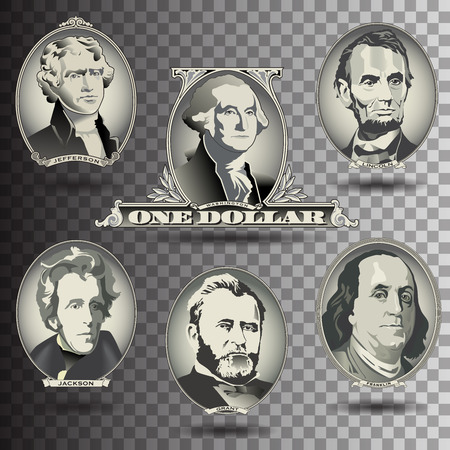 stylized banking: Presidential oval bill elements Illustration