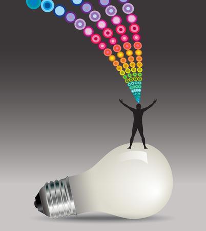 man power: Lightbulb idea man concept Illustration