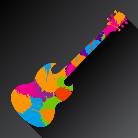 space rubbish: A Colorful Abstract Guitar Background Made With Splatter
