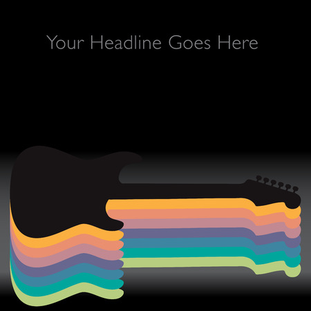 strum: A Colorful Abstract Guitar Background  With Space for Text Illustration