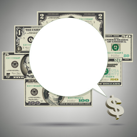 two dollar bill: Money and Speech Balloon Background with Space for Type