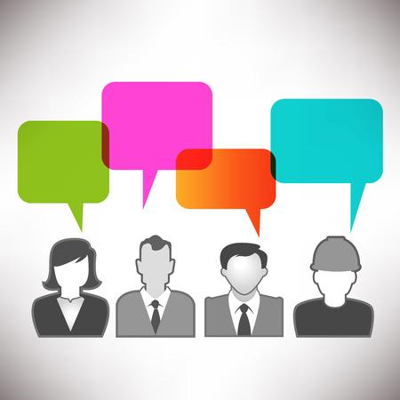 personas comunicandose: Personas que se comunican a trav�s de medios de comunicaci�n social con el espacio para el Tipo Vectores