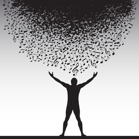 silueta humana: La alegría de la música se representa en este fondo Vectores