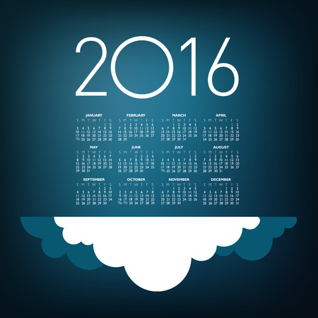 An Elegant 2016 Cloud Calendar with Space for Type