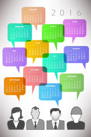 event planner: 2016 Creative Icon People Calendar with Speech Balloons Illustration