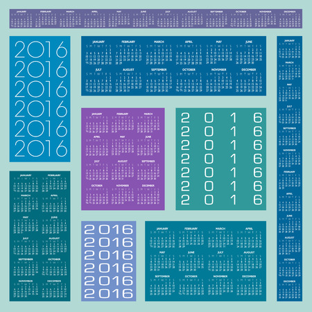 Six Different 2016 Creative Colorful Calendars in multiple configurations Illustration