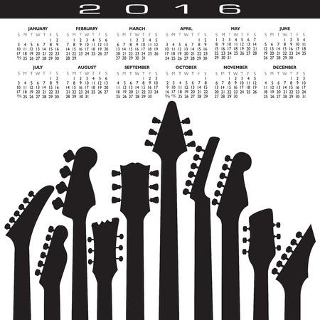 scheduler: 2016 Creative Guitar Calendar for Print or Web