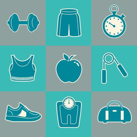 Sport Achtergrond met Fitness Icons Vector Illustratie