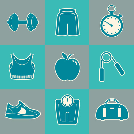 fitness center: Sports Background with Fitness Icons