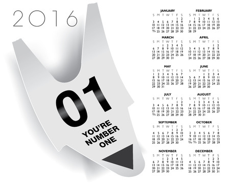You are number one ticket concept 2016 calendar