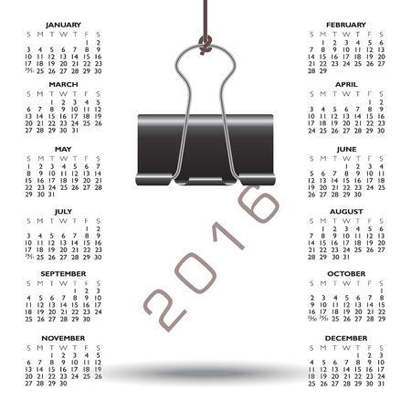 binder clip: Whimsical binder clip 2016 calendar Illustration
