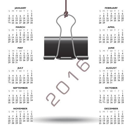 calandar: Whimsical binder clip 2016 calendar Illustration