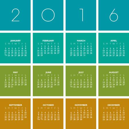 2016 Creative Colorful Calendar in multiple colors