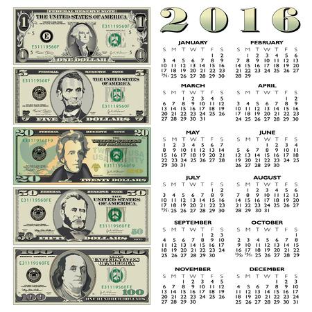 for print: 2016 Creative financial calendar for print or web Illustration