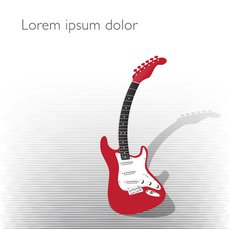electric guitar: Curved guitar creative background in black and red