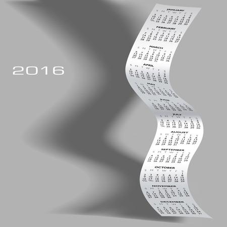apri: 2016 Wavy Calendar With Shadow Illustration