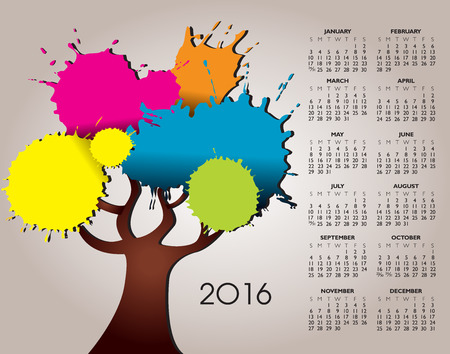event planner: A 2016 Nature and Tree Calendar with Splatter