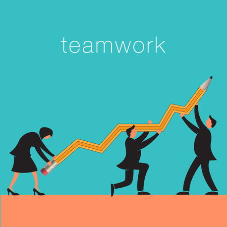 identifiers: Teamwork background with business people and pencil line graph