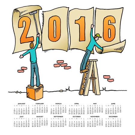 calandar: Whimsical drawing 2016 calendar