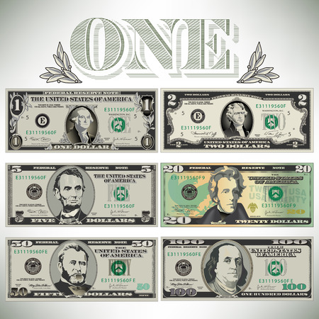 Six detailed, stylized drawings of bills