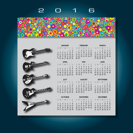 calandar: 2016 Colorful guitar music calendar Illustration