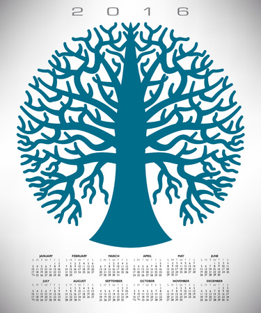 event planner: A 2016 round blue tree calendar for print or web Illustration