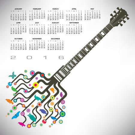 calandar: A 2016 Colorful, whimsical, funky guitar calendar
