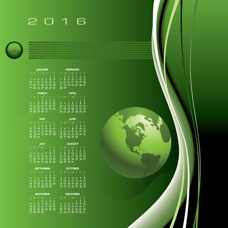 A 2016 globe calendar print or web