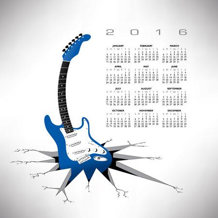 A 2016, whimsical, funky guitar calendar