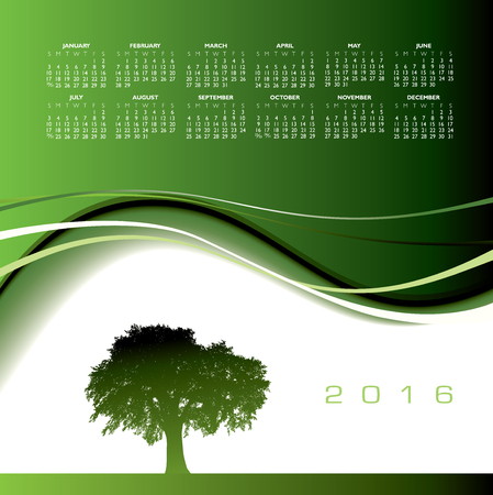 event planner: 2016 Creative tree calendar for print or web Illustration