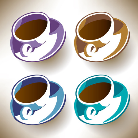 caf: Four colorful coffee cups for print or web