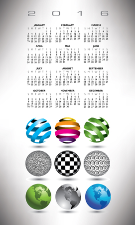 A 2016 globe calendar for print or web
