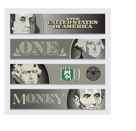stylized banking: Four stylized money banners for print or web Stock Photo