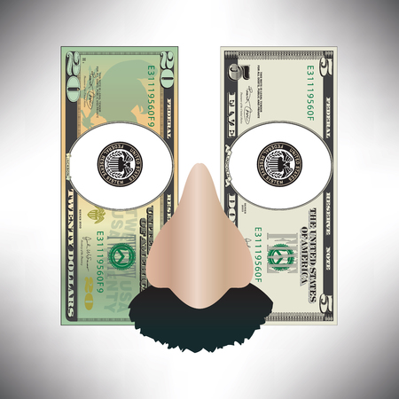 Stylized money used to make a funny face